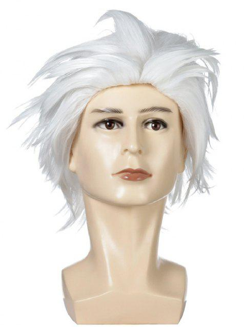 Short Fluffy Straight Halloween Cosplay Synthetic Wig - WHITE