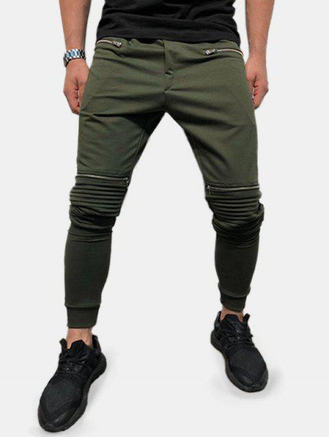 Zipper Pocket Decoration Knitted Jogger Pants - ARMY GREEN XS
