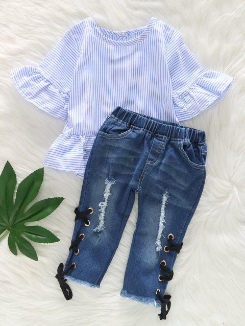 Ruffle Sleeve Striped Top and Ripped Jeans Set - DENIM BLUE 120