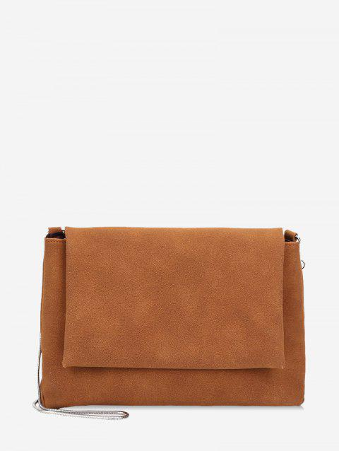 Matte Chain Solid Shoulder Bag - LIGHT BROWN
