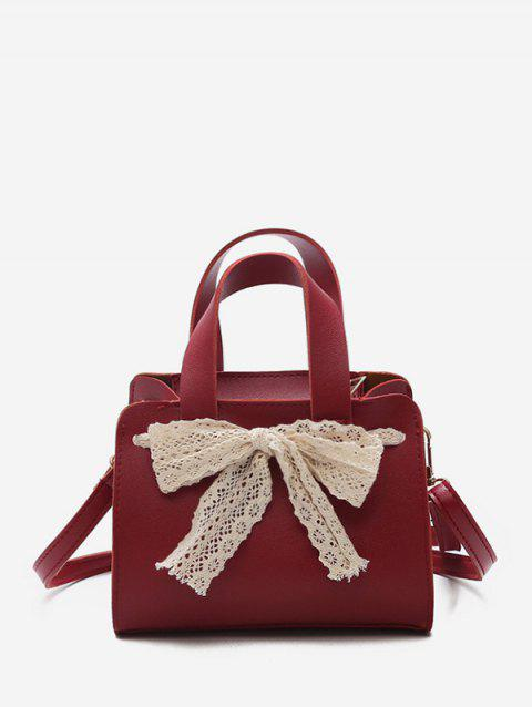 Retro Bowknot Decoration Crossbody Bag - RED WINE