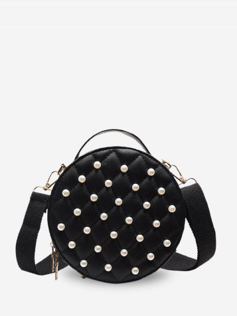 Faux Pearl Quilted Crossbody Bag - BLACK
