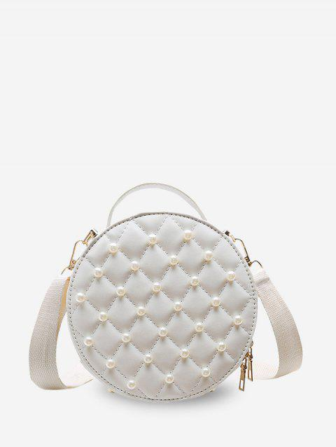 Faux Pearl Quilted Crossbody Bag - WHITE