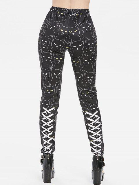 3D Lace Up Cat Print High Waisted Skinny Pants - BLACK XL