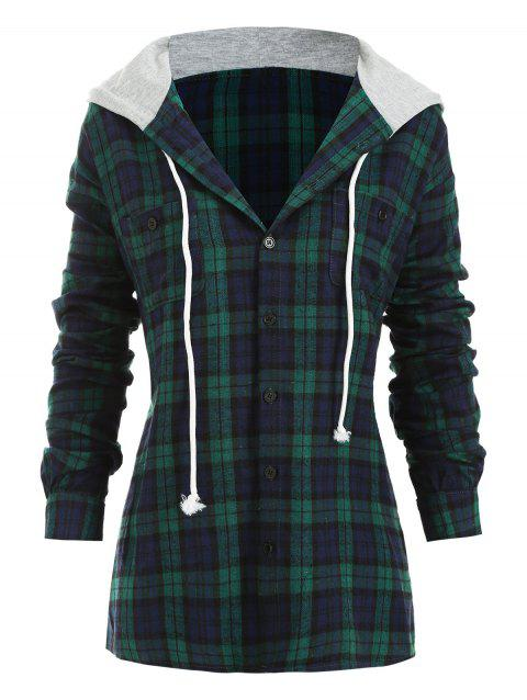 Plaid Button Up Drawstring Hooded Blouse - GREEN M