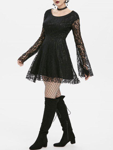 Gothic Bell Sleeve Lace Dress - BLACK S