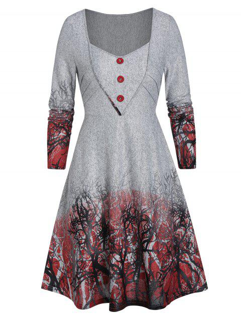 Tree Print Sweetheart Neck Button Sweater - GRAY CLOUD L
