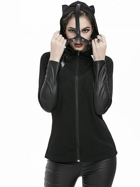 Gothic Cat Ear PU Insert Fitted Hooded Jacket - BLACK 3XL