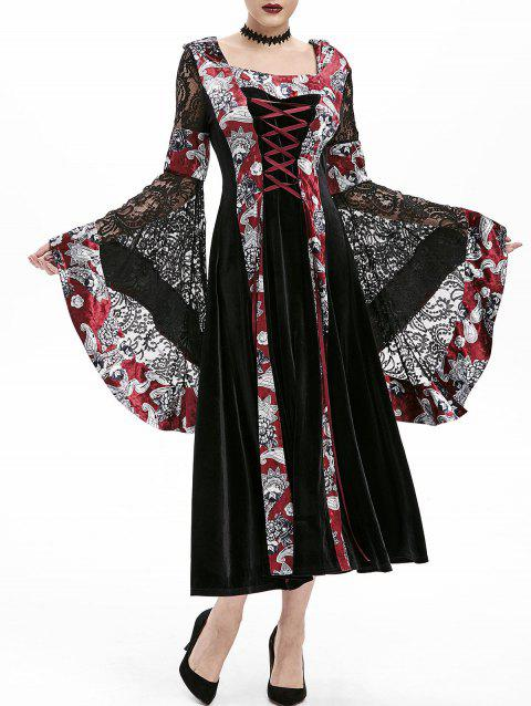 Flare Sleeve Hooded Lace Up Halloween Gothic Dress - BLACK 2XL