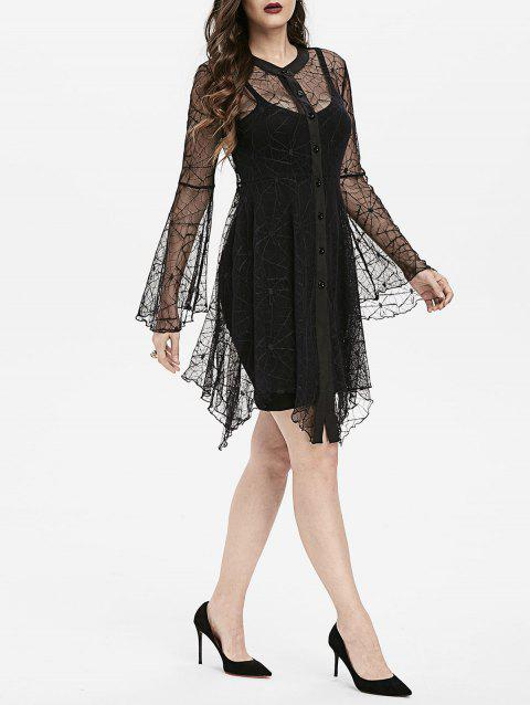 Halloween See Through Spider Web Lace Gothic Dress - BLACK L