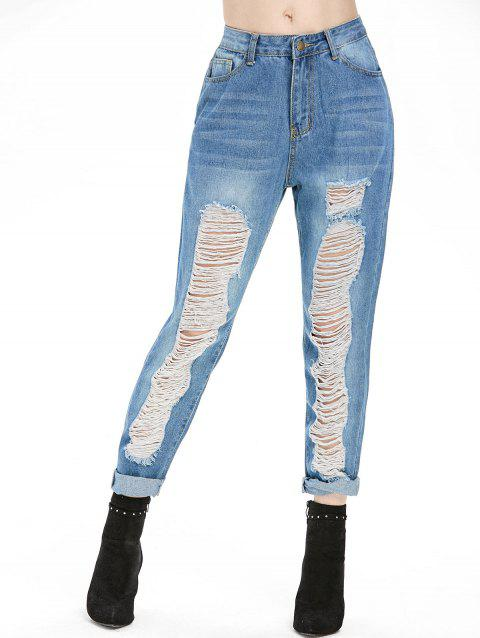 Ripped Zipper Fly High Waisted Jeans - BLUE KOI L