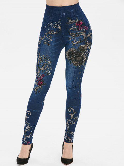 Flower Print High Waisted Skinny Jeggings - BLUE ONE SIZE
