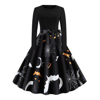 Retro Pumpkin Printed Halloween Dress