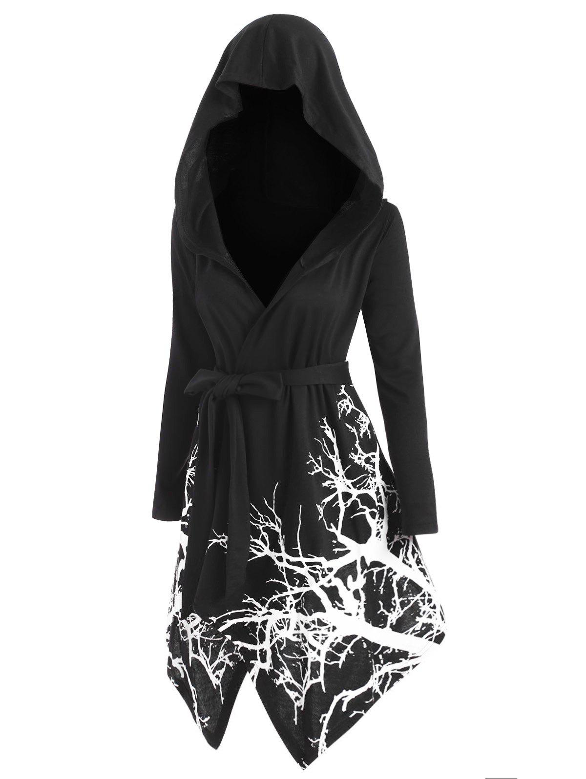 Plus Size Hooded Tree Print Halloween Coat - BLACK 2X