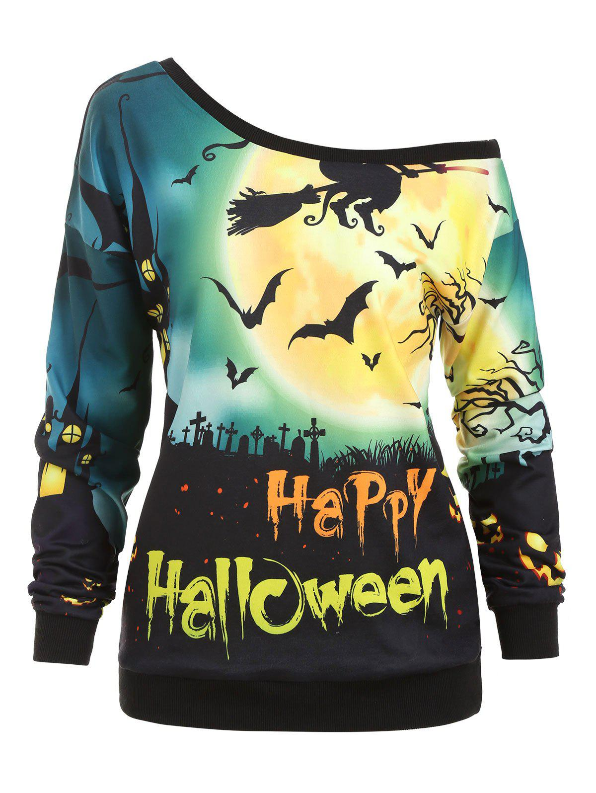 Skew Neck Happy Halloween Pumpkin Face Sweatshirt