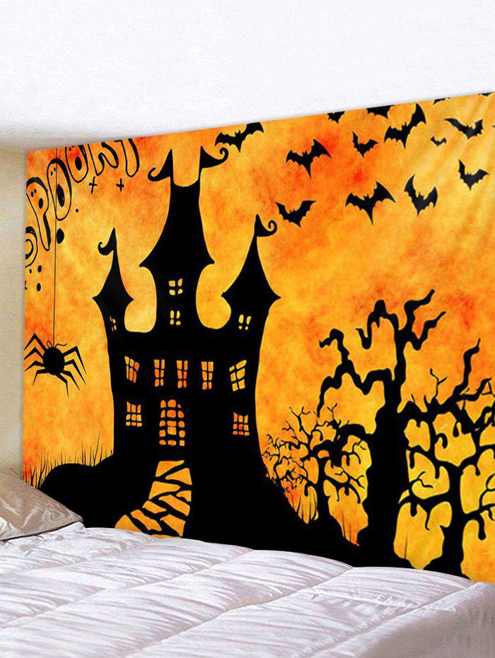 Halloween Night Castle Print Tapestry Wall Hanging Art Decoration - multicolor W59 X L51 INCH