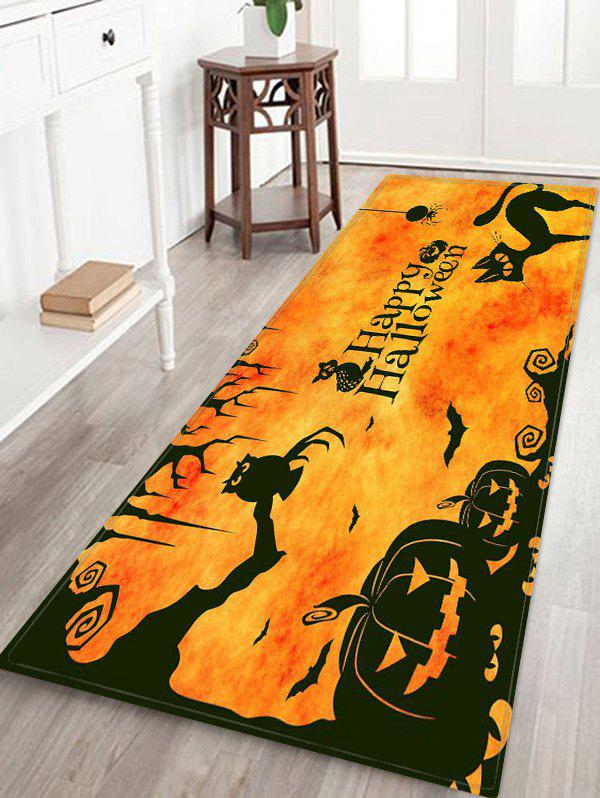 Halloween Pumpkin Cat Pattern Floor Mat - BEE YELLOW W24 X L71 INCH