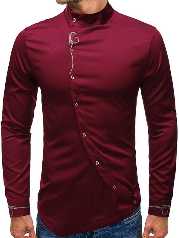 Embroidery Floral Oblique Button High Low Shirt - RED WINE L