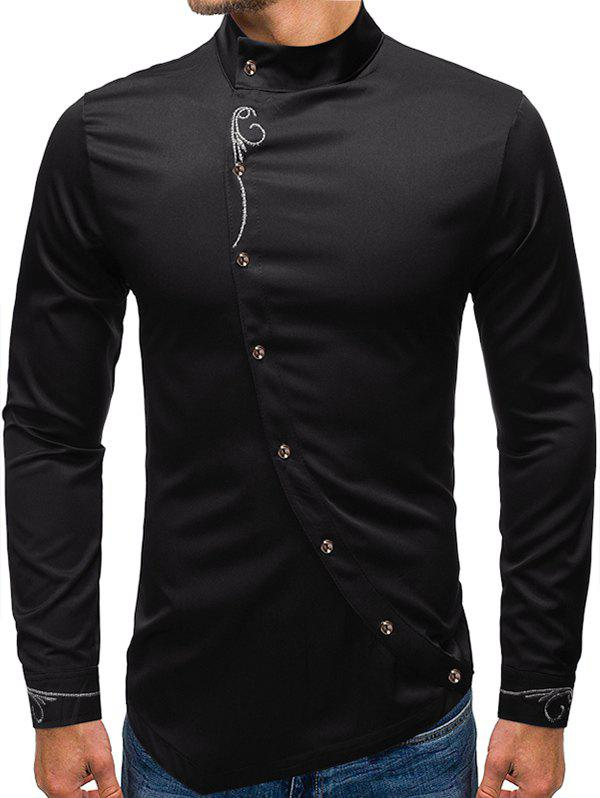 Embroidery Floral Oblique Button High Low Shirt - BLACK 2XL