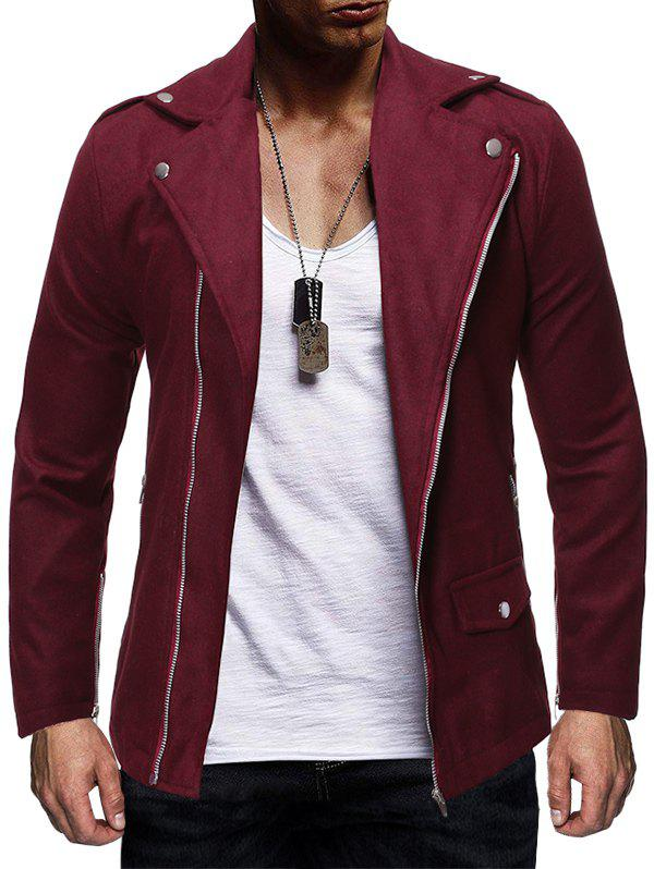Oblique Zipper Design Solid Color Wool Jacket - RED WINE M