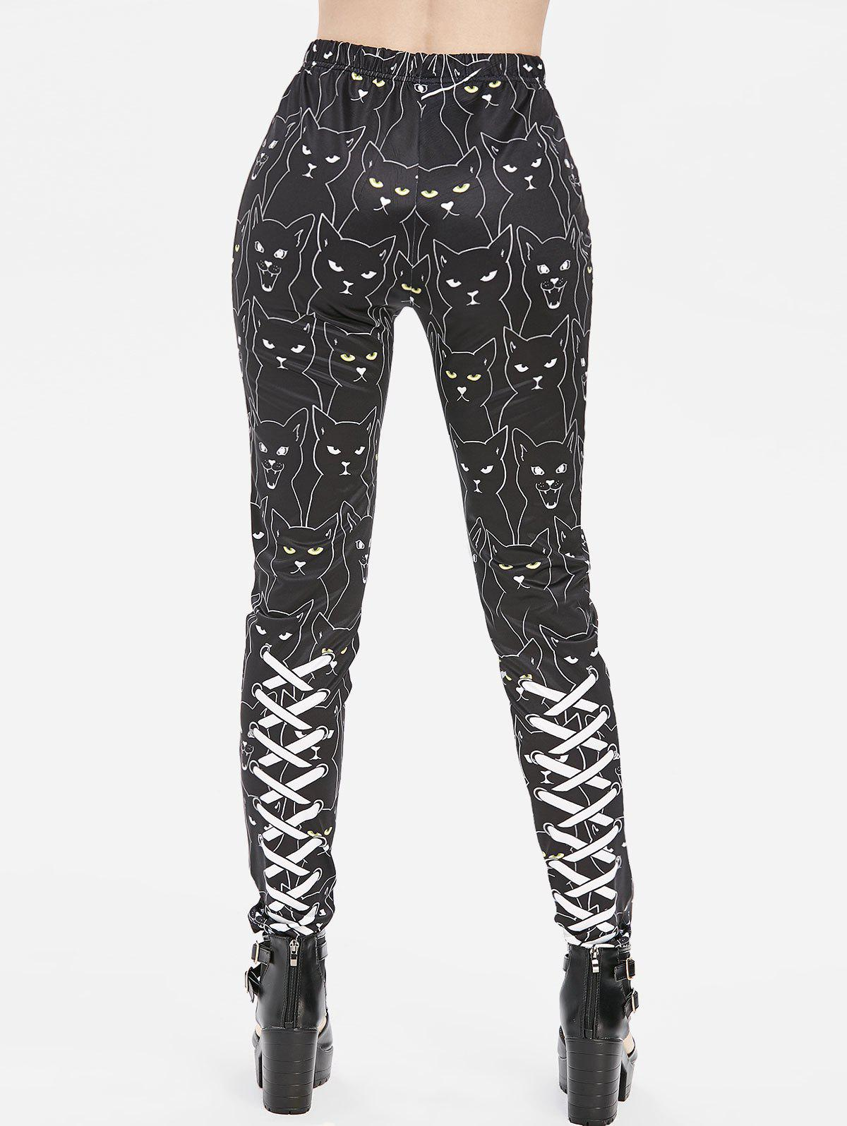 3D Lace Up Cat Print High Waisted Skinny Pants - BLACK M