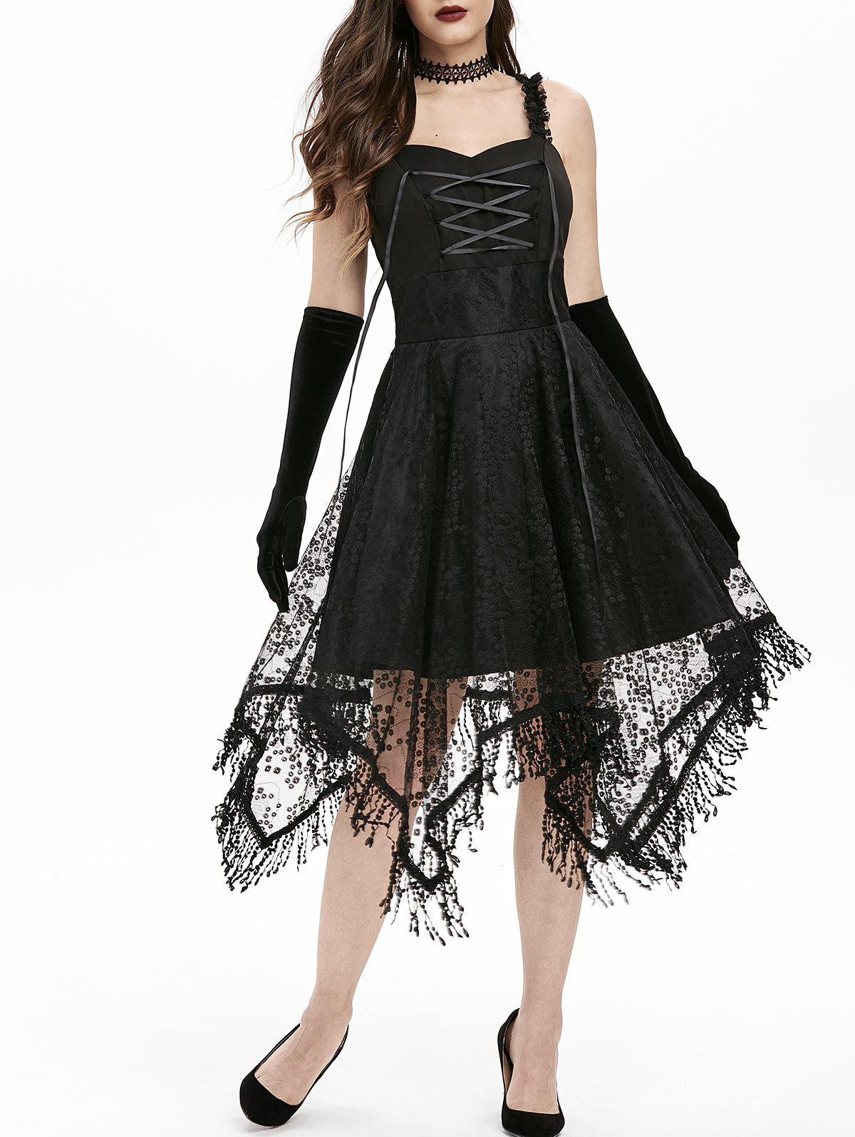 Lace-up Fringed Handkerchief Lace Dress - BLACK M
