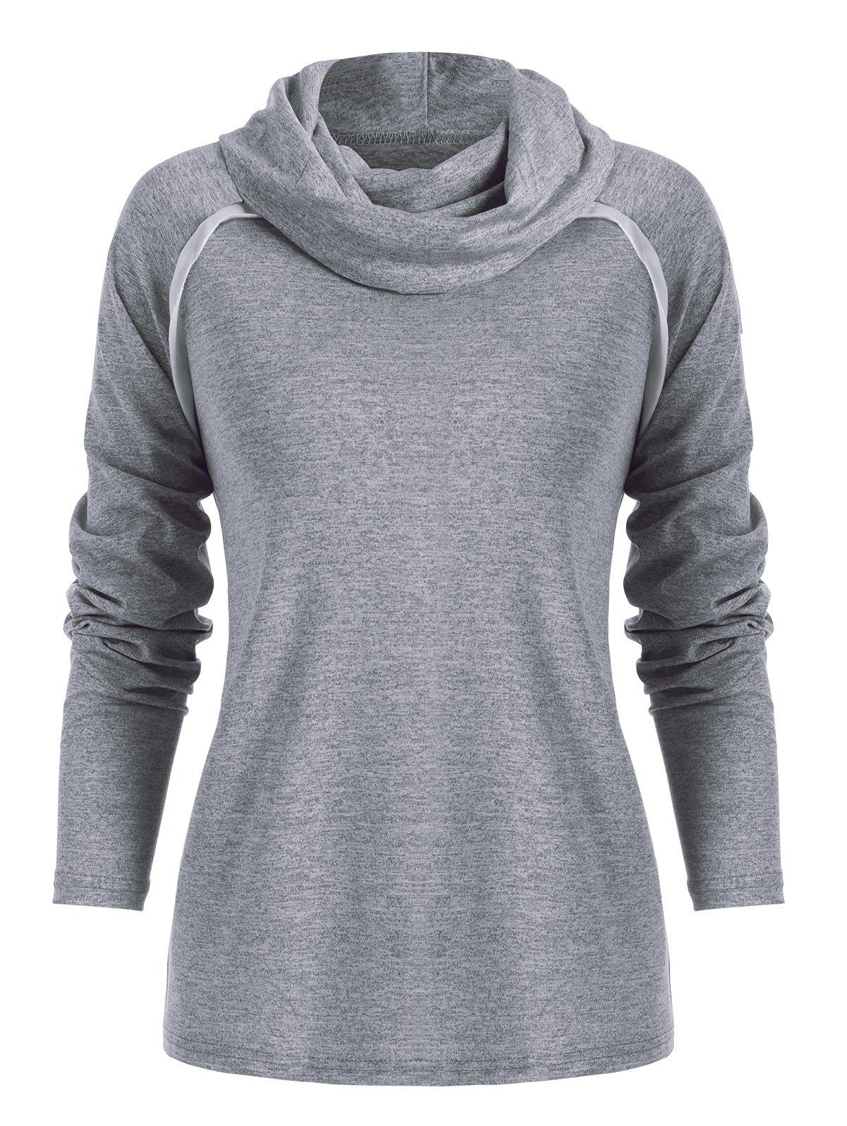 Cowl Neck Marled Two Tone T Shirt - GRAY S