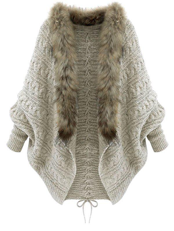 Faux Fur Trim Lace Up Batwing Sleeve Cardigan - LIGHT KHAKI ONE SIZE