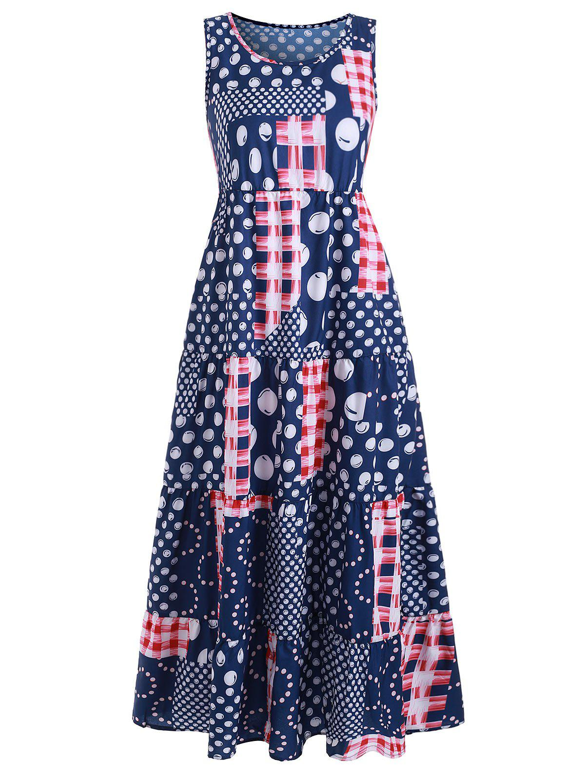 Bohemian Polka Dot Flounce Long Dress - BLUE 2XL