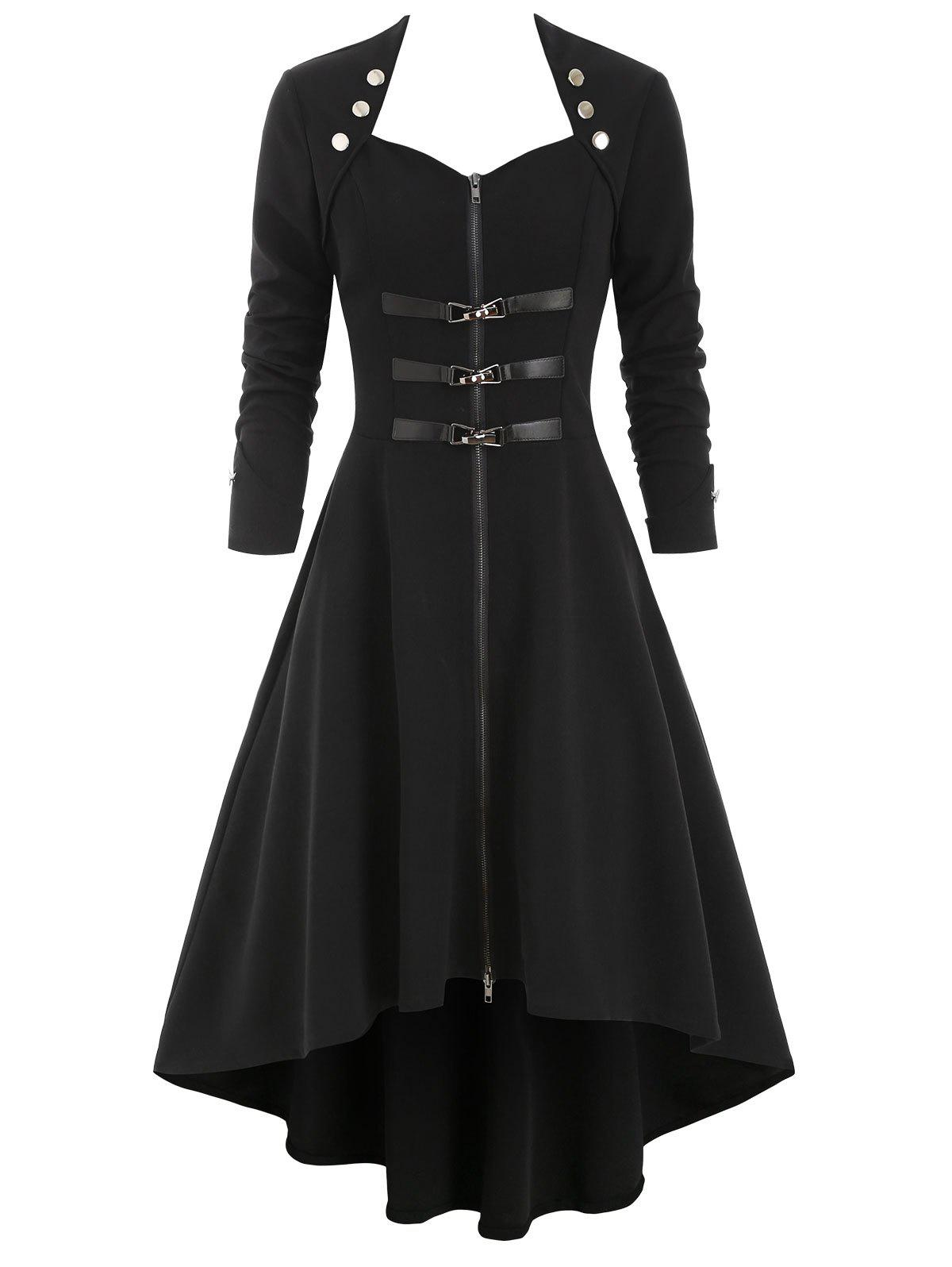 Gothic High Low Button Embellished Trench Coat - BLACK 2XL