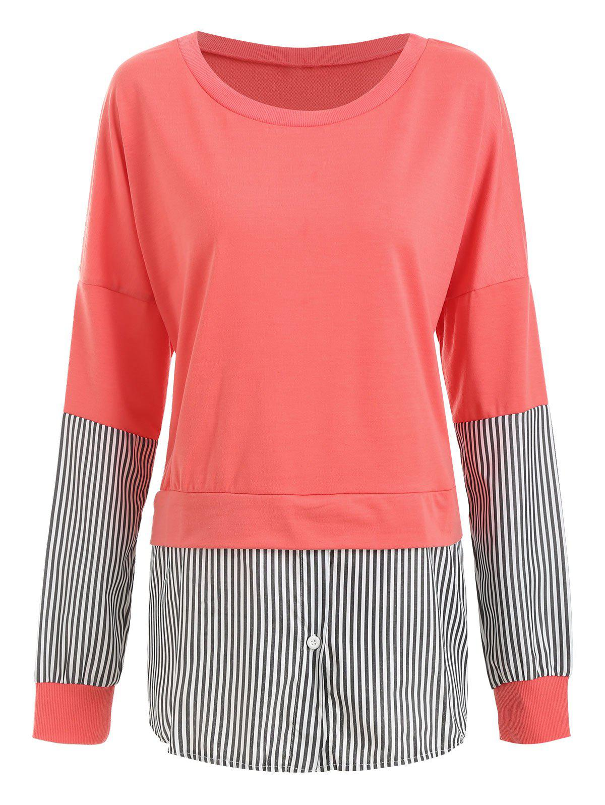 Striped Patched Crew Neck Longline Sweatshirt - LIVING CORAL XL