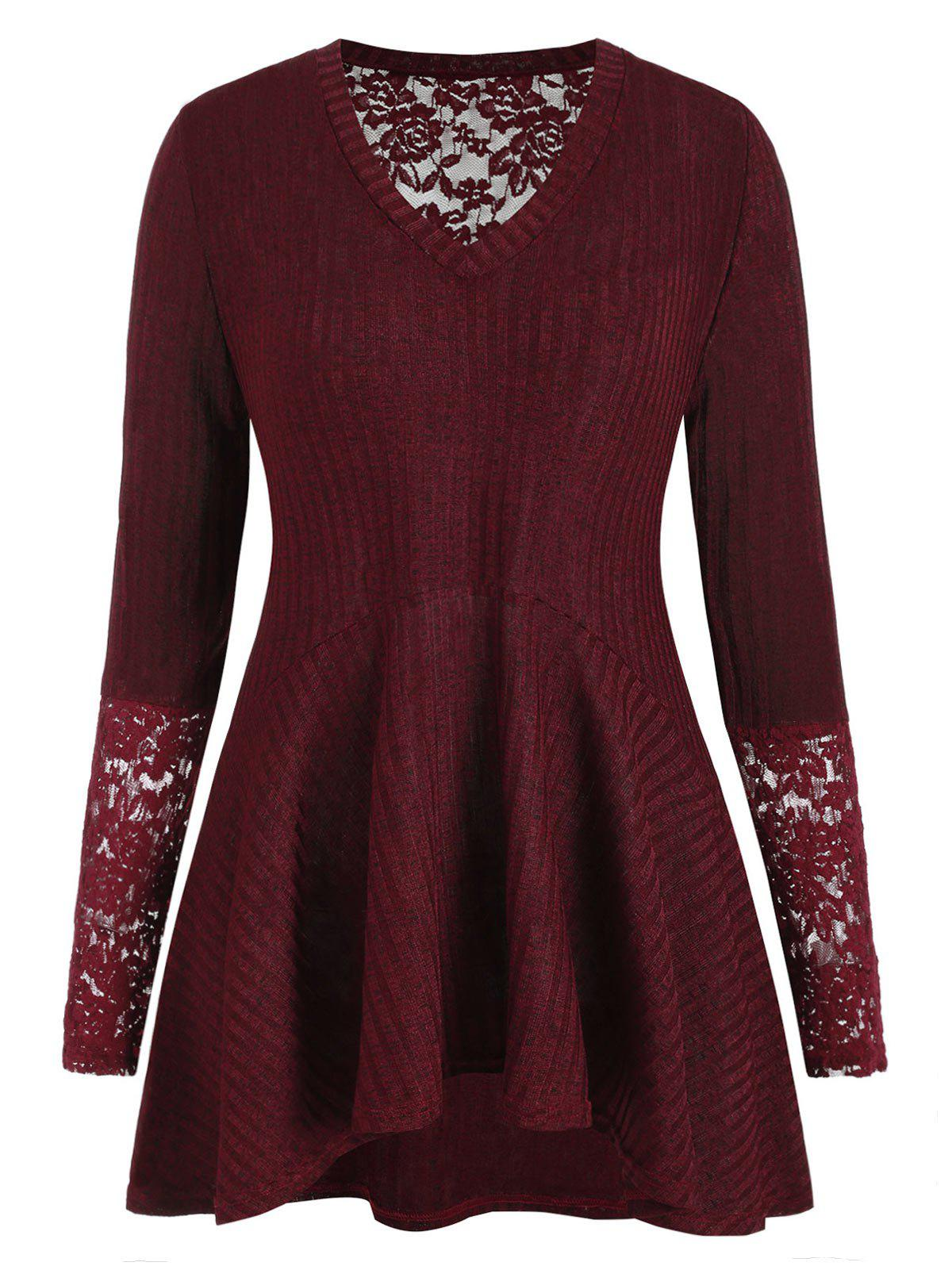 V Neck Lace Panel Ribbed Plus Size Knitwear - RED WINE 1X
