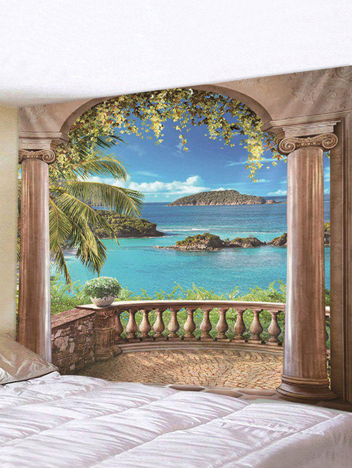 Seaside Porch Print Tapestry Wall Hanging Art Decoration - multicolor W91 X L71 INCH