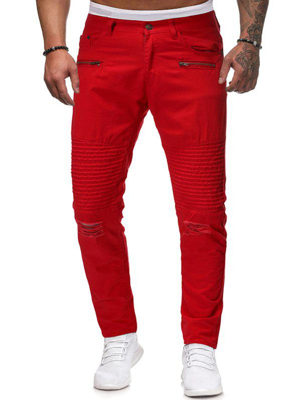 Pleated Spliced Ripped Solid Color Long Pants - RED S