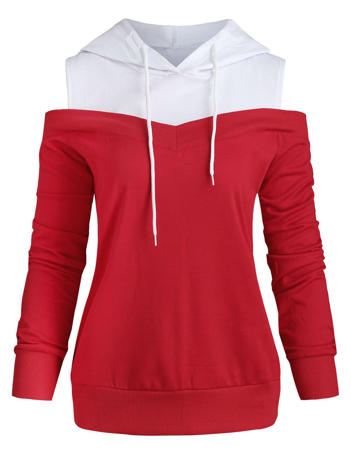 Cold Shoulder Color Block Drawstring Hoodie - RED S