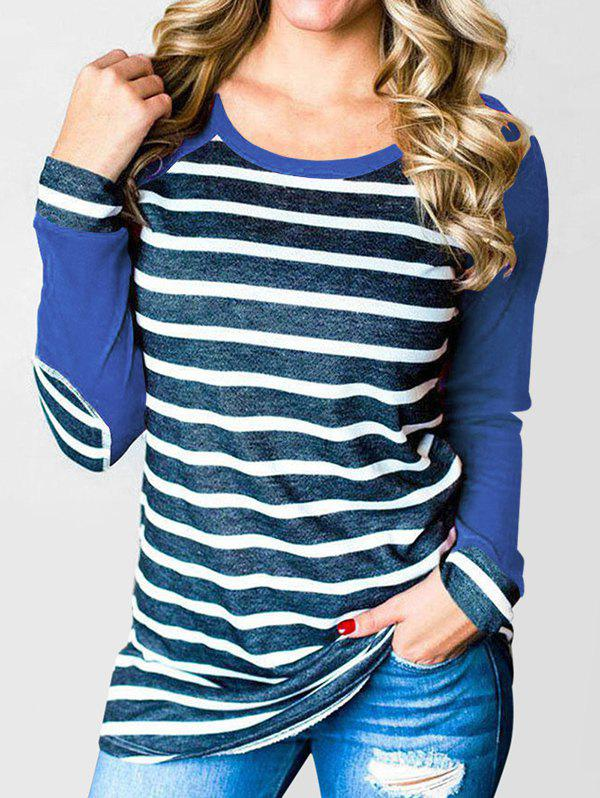 Striped Elbow Patched Raglan Sleeves Tee - BLUEBERRY BLUE M