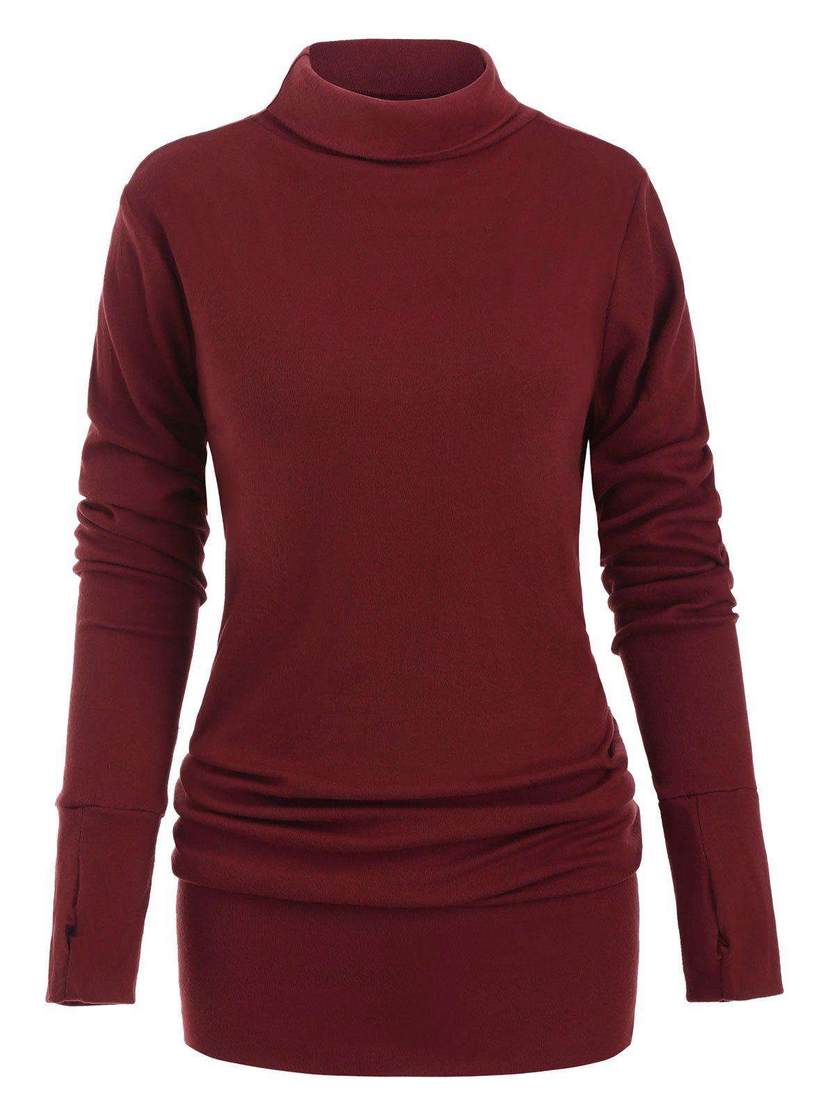 Turtleneck Long Sleeves Mini Solid Dress - RED WINE 2XL