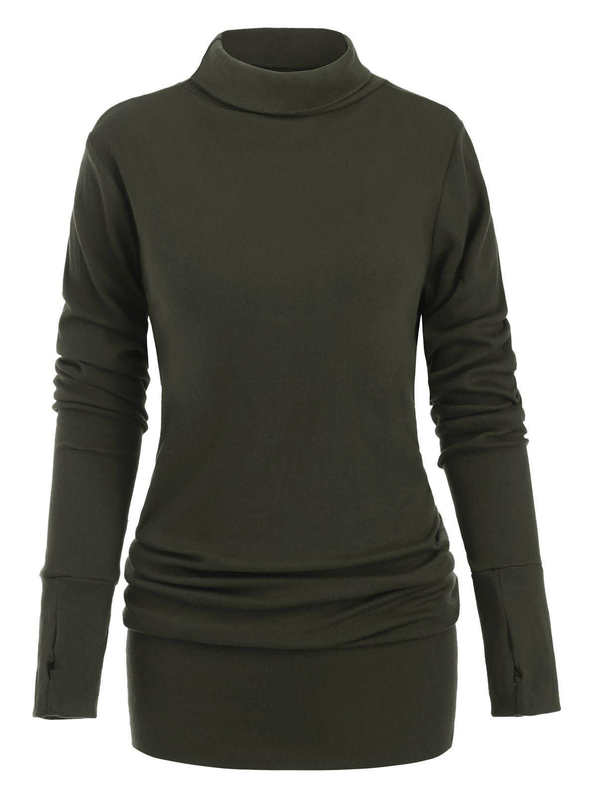 Turtleneck Long Sleeves Mini Solid Dress - ARMY GREEN L