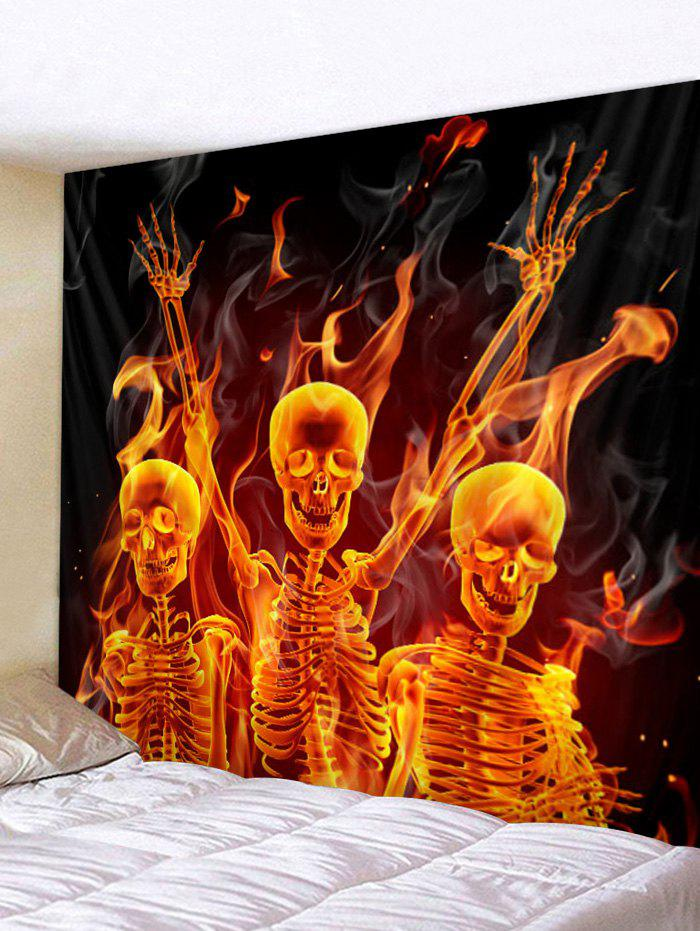 Halloween Flame Skeleton Print Tapestry Wall Art - multicolor B W59 X L51 INCH