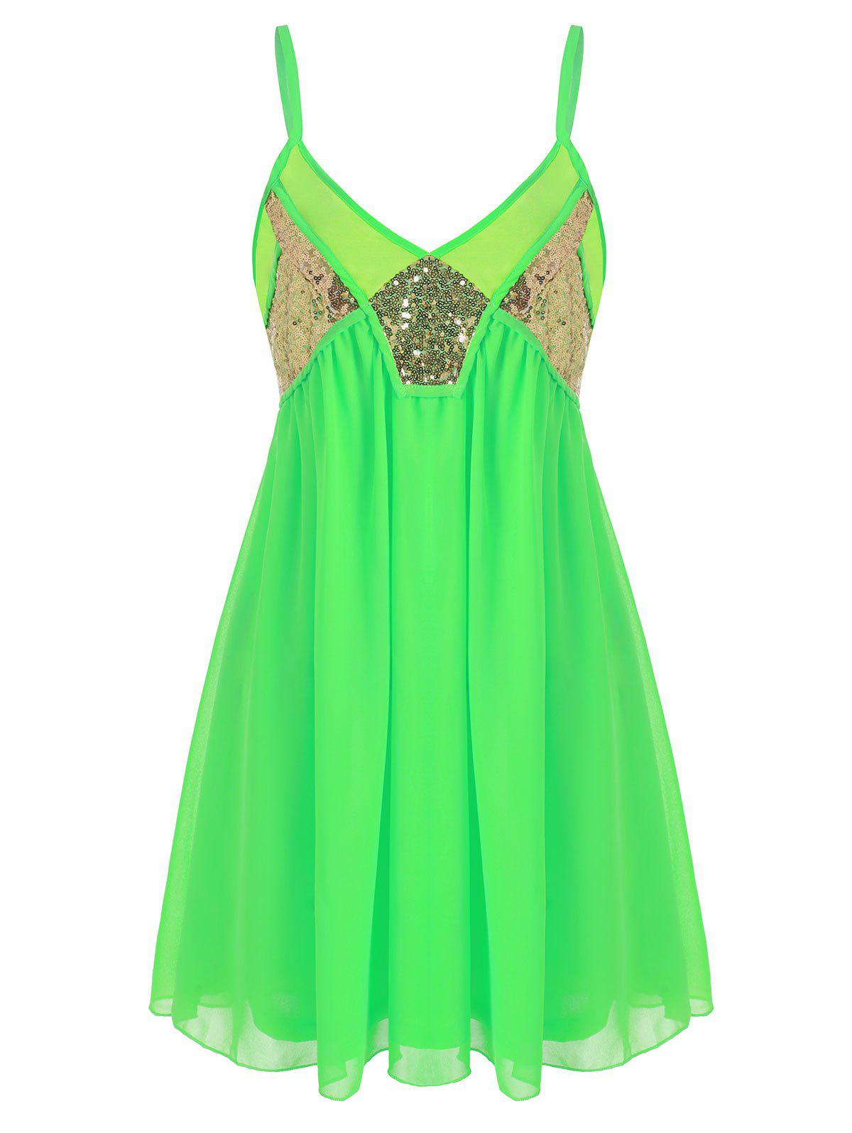 Sequined Neon Mini Slip Party Dress - GREEN L