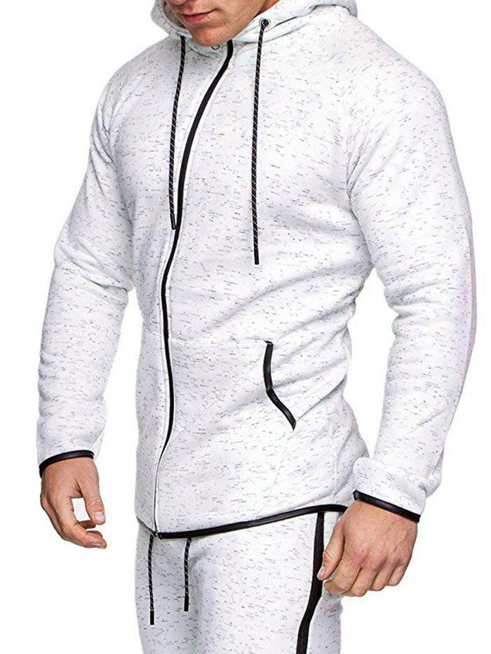 High Low Contrast Trim Raglan Sleeve Sport Zipper Hoodie - WHITE 3XL