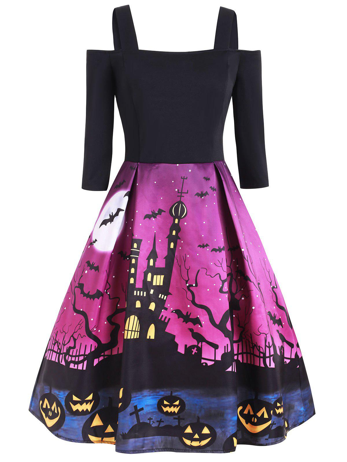 Halloween Bat Pumpkin Cold Shoulder Party Dress