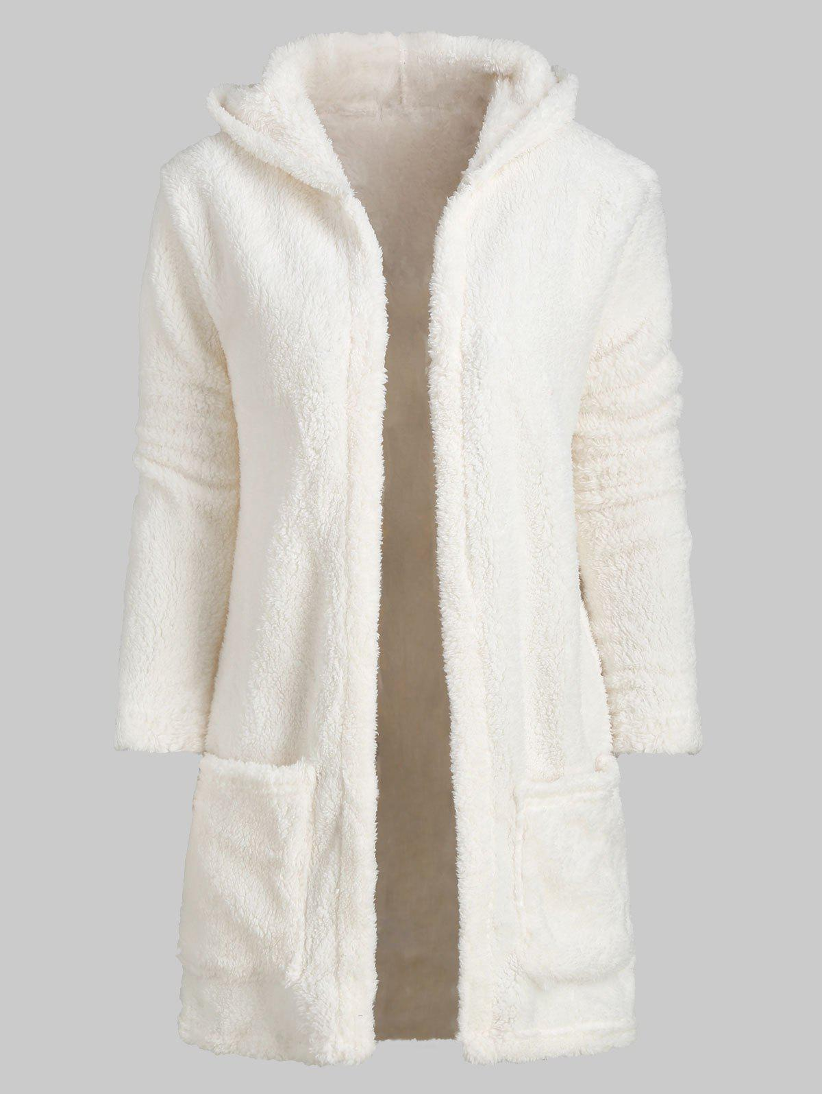 Solid Color Open Front Fluffy Hooded Coat - WHITE 2XL