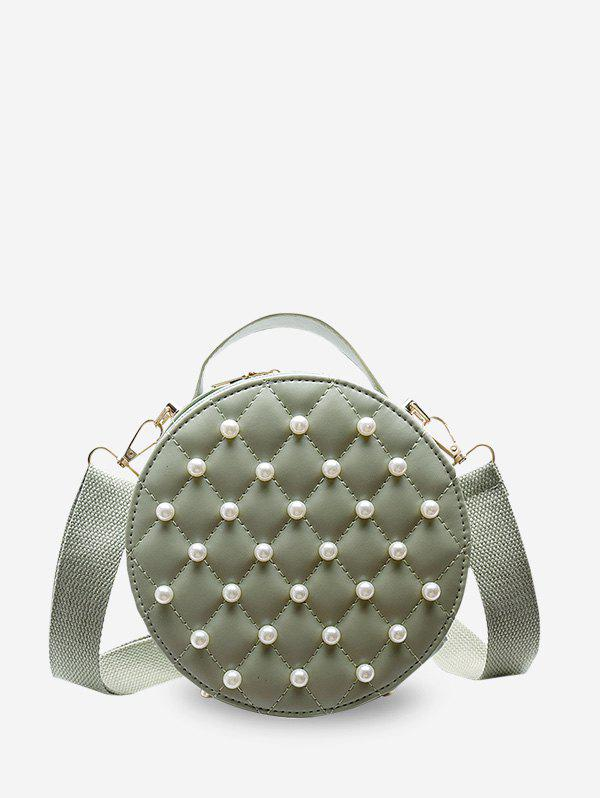 Faux Pearl Quilted Crossbody Bag - CYAN OPAQUE
