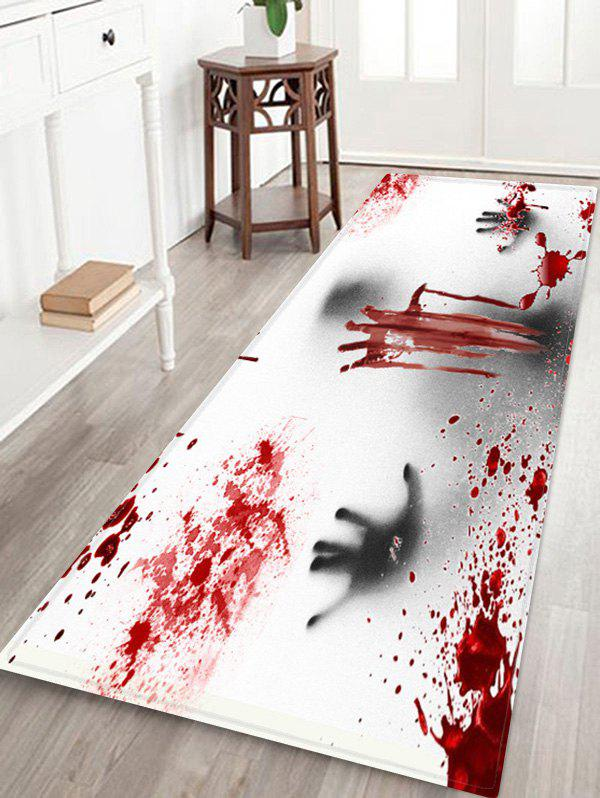Halloween Ghost Bloody Hand Pattern Water Absorption Area Rug - RED W24 X L71 INCH