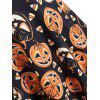 Plus Size Vintage Lace Insert Pumpkin Print Halloween Flare Dress - multicolor A 4X