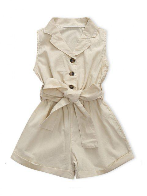 Sleeveless Single-breasted Conjoined Shorts with Belt - BEIGE 120