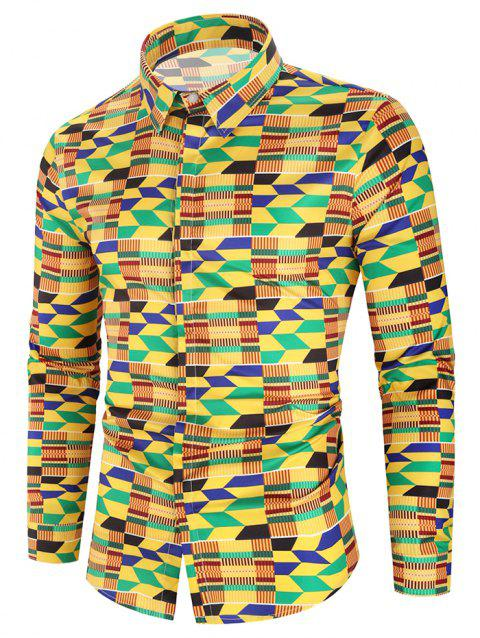 Colored Geometric Graphic Print Long Sleeve Curved Hem Shirt - multicolor 3XL