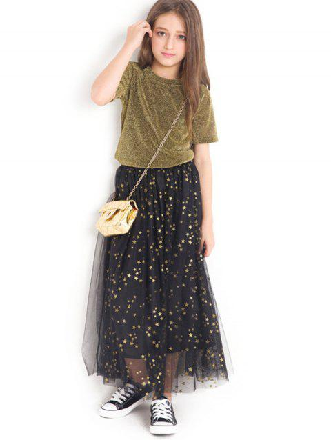 Shiny T-Shirt and Star Pattern Tulle Skirt Set - GOLD 140