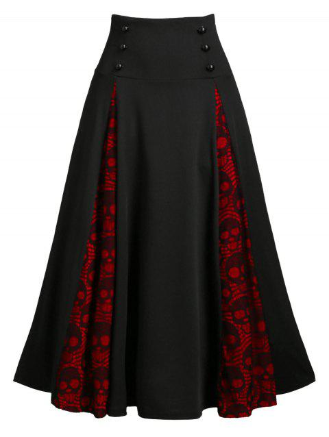 Halloween Skull Lace Insert Lace-up Mock Button Midi Skirt - BLACK 3XL
